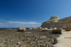 Marsaforn bay in Gozo island, Malta. Popular bay in Malta. Rocky beach in Malta. Europe Royalty Free Stock Photo