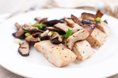Marsala chicken and sliced mushrooms Stock Image