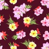 Marsala colored print  plumeria, frangipani, orchid flowers. Sea Royalty Free Stock Images