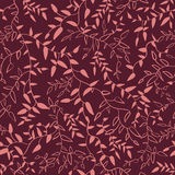 Marsala floral seamless pattern with leaves Royalty Free Stock Images