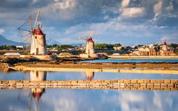 Marsala, Sicily, Italy. Marsala, Italy. Stagnone Lagoon with vintage windmills and saltwork, Trapani province, Sicily stock photography