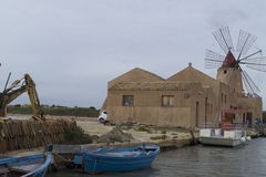Marsala salt flats Stock Images