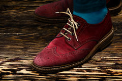 Marsala suede brogues Stock Photography