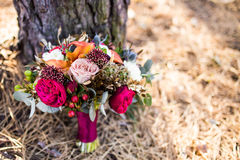 Marsala wedding bouquet with red rose with cope space Royalty Free Stock Images