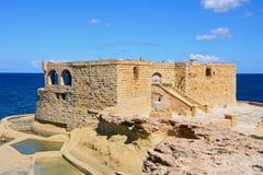 Marsalforn armatnia bateria, Gozo Zdjęcie Royalty Free
