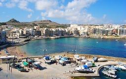 """Marsalforn Malta †""""September 27, 2013 Sikt över Marsalforn Royaltyfri Bild"""