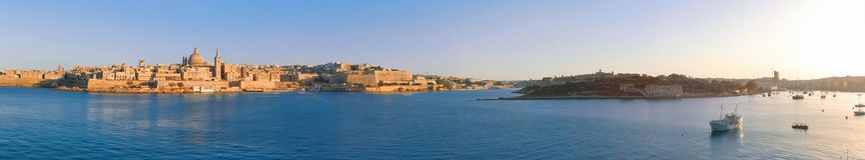 Marsamxett Harbour with Valletta panorama, Malta. EU Stock Images