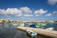 Marsashlock港在马耳他 库存图片