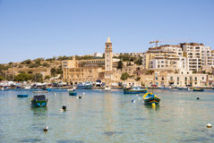 Marsaskala bay with boats, Malta Stock Images