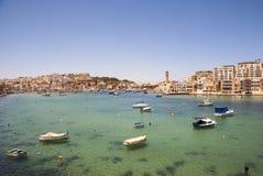 Marsaskala bay with boats, Malta Stock Photo