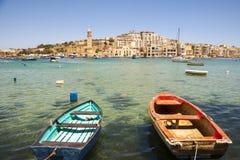 Marsaskala bay with boats, Malta Royalty Free Stock Photography