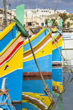 Marsaxlokk钓鱼海港 图库摄影