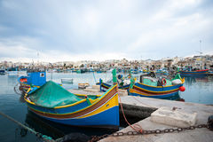 Marsaxlokk with boats, Malta Stock Images