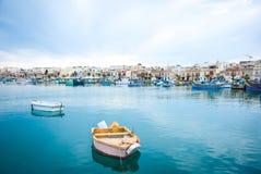 Marsaxlokk with boats, Malta Stock Image