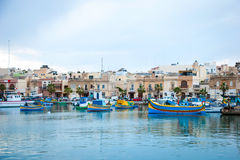 Marsaxlokk with boats, Malta Royalty Free Stock Images