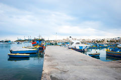 Marsaxlokk with boats, Malta Stock Photos