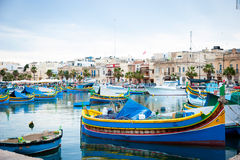 Marsaxlokk with boats, Malta Stock Photography