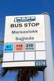 Marsaxlokk bus stop sign, Malta. Stock Images