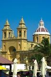 Churches of Malta - Marsaxlokk. Towers of the church of Our Lady of Pompeii, Marsaxlokk harbour, Malta Stock Image