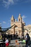 Marsaxlokk is een traditioneel die visserijdorp in het zuidoostelijke deel van Malta wordt gevestigd, Stock Foto's