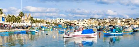 Marsaxlokk fishermen village in Malta. Panoramic view. stock images