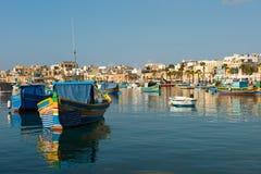 Marsaxlokk fishing village harbor with boats Royalty Free Stock Photo