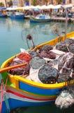 Marsaxlokk fiskeläge, Malta Arkivfoto