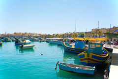 Marsaxlokk Harbor, Malta. View of the small fishing harbor in Marsaxlokk, Malta Royalty Free Stock Images