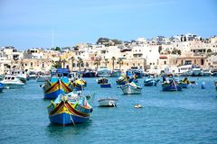Marsaxlokk harbour and town, Malta. Royalty Free Stock Photo