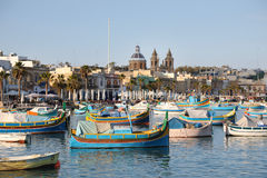 Marsaxlokk Harbour with traditional fishing boats Luzzus, Malt Stock Photography