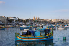 Marsaxlokk Harbour with traditional fishing boats Luzzus, Malt Royalty Free Stock Image