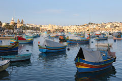 Marsaxlokk Harbour with traditional fishing boats Luzzus, Malt Stock Photo