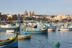 Marsaxlokk Harbour with traditional fishing boats Luzzus, Malt Stock Image