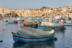 Marsaxlokk Harbour with traditional fishing boats Luzzus, Malt Royalty Free Stock Photo