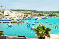Luzzu colorful boats at Marsaxlokk Harbor in Malta Royalty Free Stock Photos