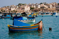 Marsaxlokk, Malta island. Marsaxlokk harbour, Malta, with traditional fishing boats Stock Photography