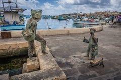 Marsaxlokk, Malta - 02 2016 Maj: Połowu port Marsaxlokk Zdjęcia Royalty Free