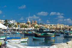 Marsaxlokk, Malta. The Maltese port of Marsaxlokk royalty free stock images