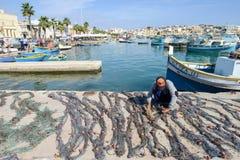 The fishing village of Marsaxlokk on Malta island Stock Images