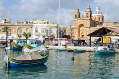 The fishing village of Marsaxlokk on Malta island. Marsaxlokk, Malta - 3 November 2017: The fishing village of Marsaxlokk on Malta island Royalty Free Stock Photo