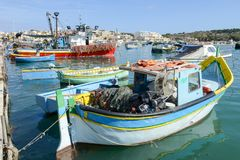 The fishing village of Marsaxlokk on Malta island. Marsaxlokk, Malta - 3 November 2017: The fishing village of Marsaxlokk on Malta island Royalty Free Stock Photography