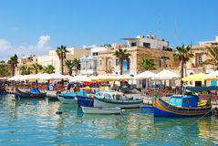 Marsaxlokk, Malta – September, 2013. Waterfront in Marsaxlokk. Royalty Free Stock Photo