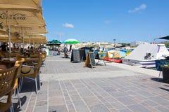 Marsaxlokk restaurant pier Royalty Free Stock Photography