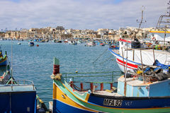 Marsaxlokk village fisherman boats, Malta Stock Photos