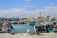 Marsaxlokk village fisherman boats, Malta Royalty Free Stock Image