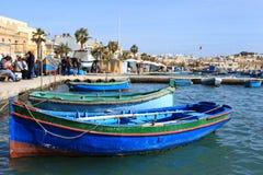 Marsaxlokk Visserijdorp, Malta Stock Foto