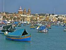 Marsaxlokkbaai, Malta stock afbeelding