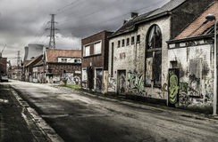 Marsch Doels, Belgien, 16 2016 die verlassene Doel-Stadt in Belgien März, 16 2016 Stockfoto