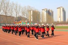 Marsch för Suona kapacitetslag på lekplatsen Arkivfoto