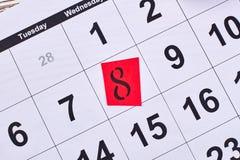 8 marsch i kalender Arkivfoto